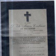 Sellos: 1901. ESQUELA DE DON VITO MIÑON CRISTIANO. CON SELLO. DIRIGIDA A JEREZ DE LA FRONTERA. VER. Lote 56772339