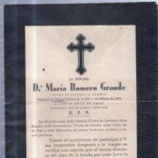 Sellos: CIONAL, ZAMORA. 1935. ESQUELA DE DOÑA MARIA ROMERO GRANDE. CON SELLO. VER. Lote 56773243