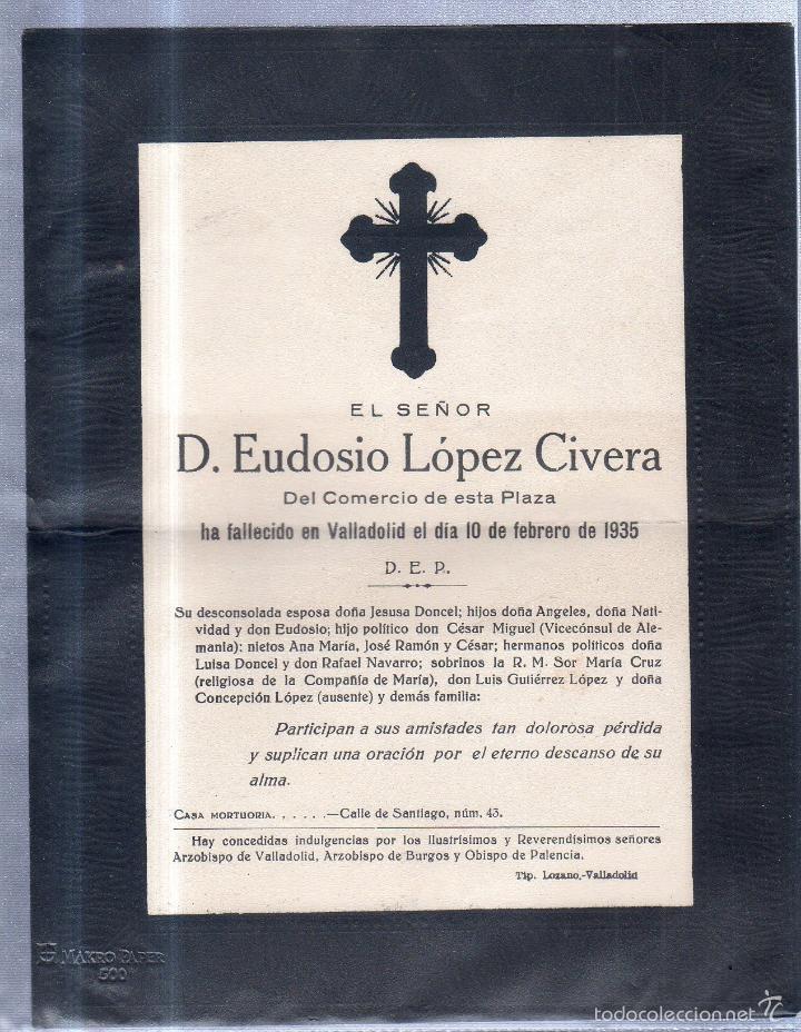 VALLADOLDID, 1935. ESQUELA DE DON EUDOSIO LOPEZ CIVERA. CON SELLO. VER (Sellos - España - Alfonso XIII de 1.886 a 1.931 - Cartas)