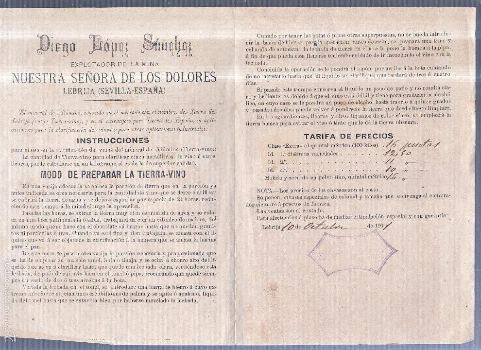 CIRCULAR PUBLICITARIA CON LISTA DE PRECIOS. MINA. DIEGO LOPEZ SANCHEZ. LEBRIJA. CON SELLO. VER (Sellos - España - Alfonso XIII de 1.886 a 1.931 - Cartas)