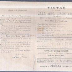 Sellos: CIRCULAR PUBLICITARIA CON LISTA DE PRECIOS. TINTAS DE LA CASA AUG. LEONHARDI. CON SELLO. VER. 1894. Lote 56775238