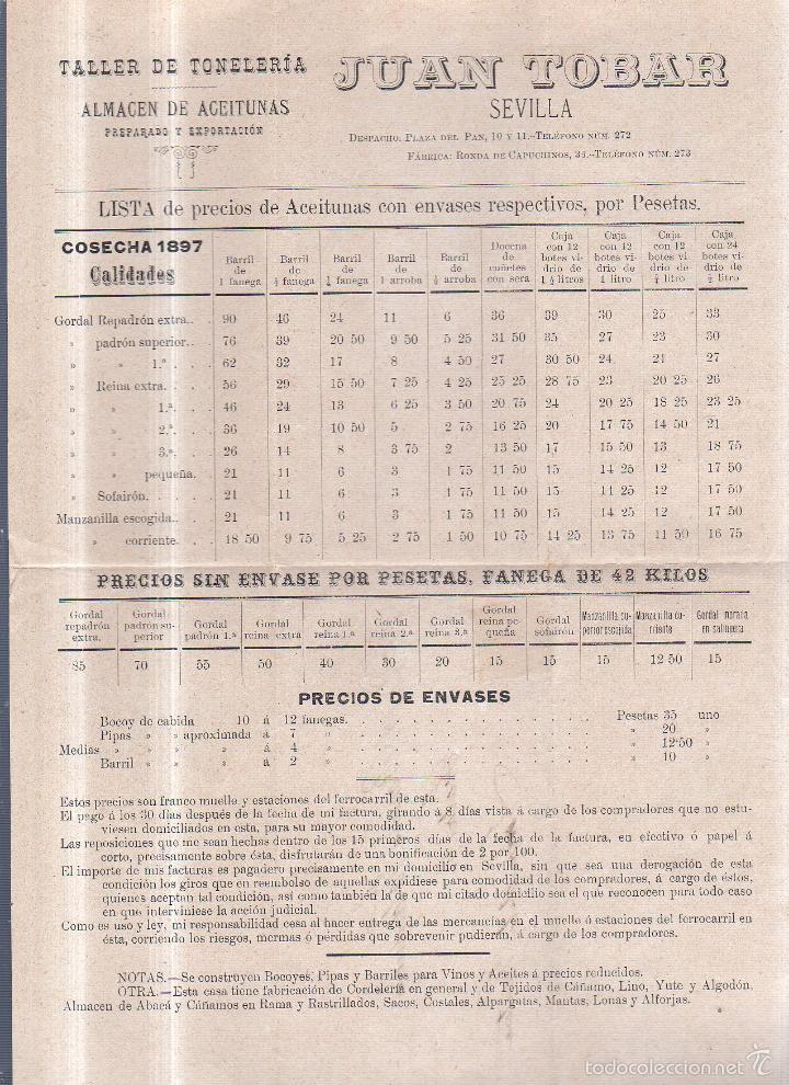 CIRCULAR PUBLICITARIA CON LISTA DE PRECIOS. JUAN TOBAR. SEVILLA. ACEITUNAS. 1897. CON SELLO. VER (Sellos - España - Alfonso XIII de 1.886 a 1.931 - Cartas)