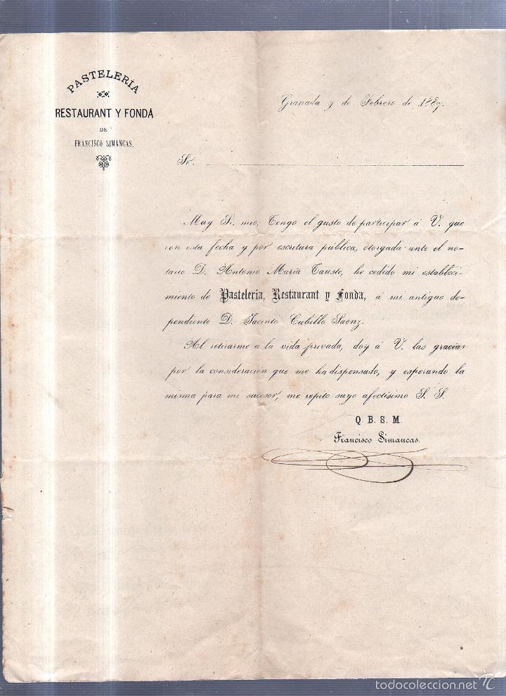 CIRCULAR PUBLICITARIA. PASTELERIA. RESTAURANT. FRANCISCO SIMANCAS. DE GRANADA A JEREZ. CON SELLO. (Sellos - España - Alfonso XIII de 1.886 a 1.931 - Cartas)