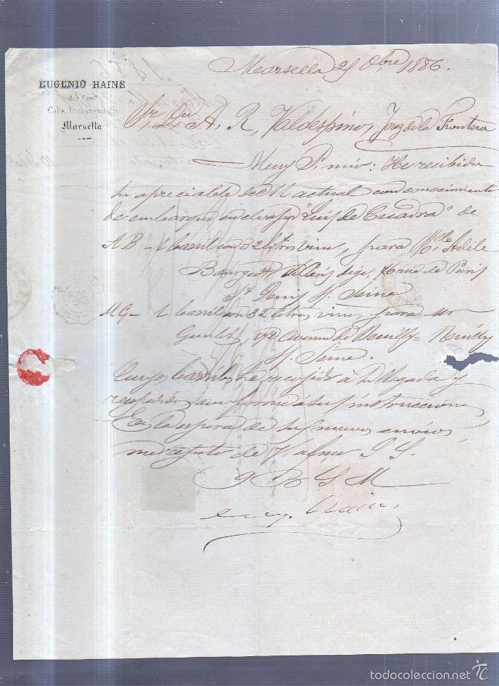 CIRCULAR PUBLICITARIA. EUGENIO HAINS. CON SELLO. DE MARSELLA A JEREZ. 1886. VER (Sellos - España - Alfonso XIII de 1.886 a 1.931 - Cartas)