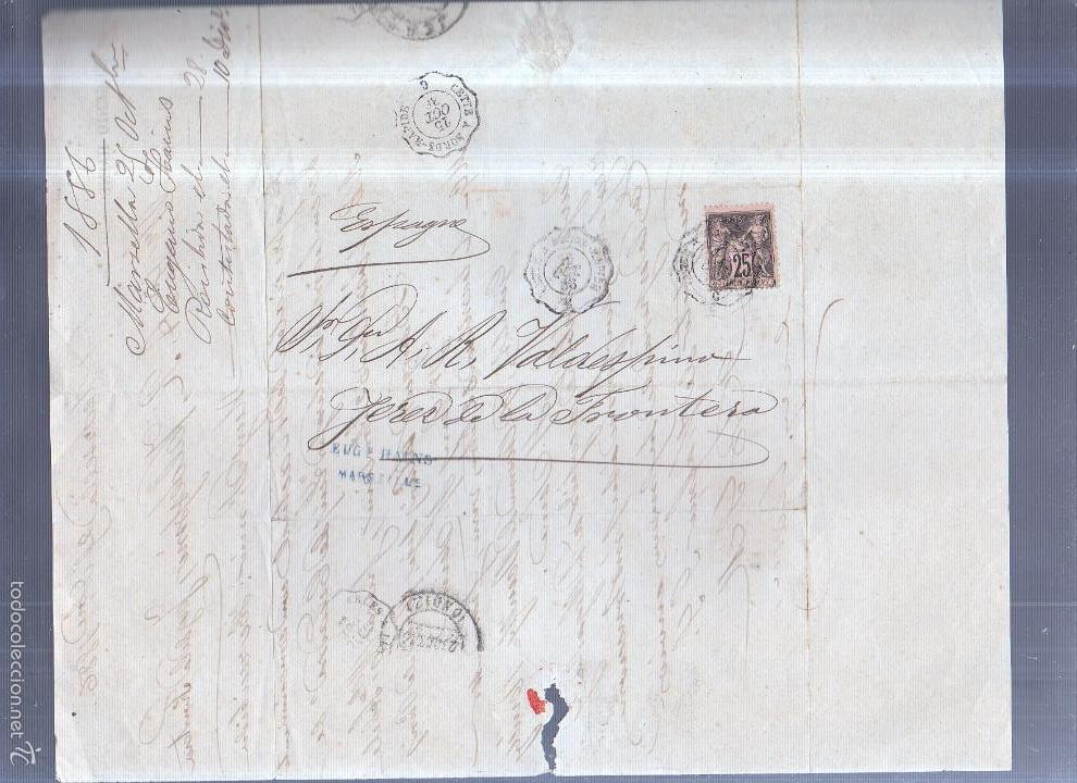 Sellos: CIRCULAR PUBLICITARIA. EUGENIO HAINS. CON SELLO. DE MARSELLA A JEREZ. 1886. VER - Foto 2 - 56783822