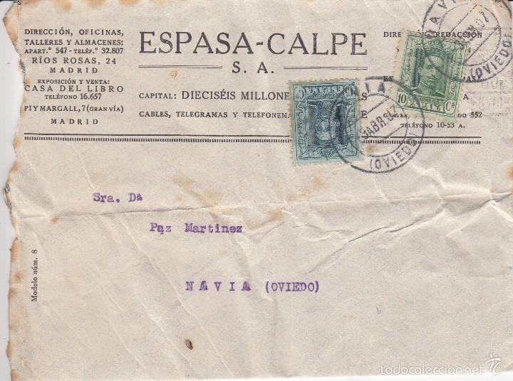 CARTA ESPASA-CALPE: 1907 MADRID - NAVIA (OVIEDO) / SELLOS 10 CENT - 15 CENT (Sellos - España - Alfonso XIII de 1.886 a 1.931 - Cartas)