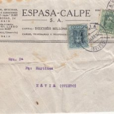 Sellos: CARTA ESPASA-CALPE: 1907 MADRID - NAVIA (OVIEDO) / SELLOS 10 CENT - 15 CENT. Lote 57365786