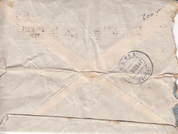 Sellos: CARTA ESPASA-CALPE: 1907 MADRID - NAVIA (OVIEDO) / SELLOS 10 CENT - 15 CENT - Foto 2 - 57365786