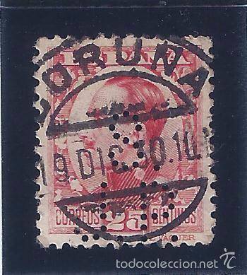 EDIFIL 495 ALFONSO XIII. TIPO VAQUER DE PERFIL. 1930-1931. PERFORADO. MATASELLOS CORUÑA 19-12-1930. (Sellos - España - Alfonso XIII de 1.886 a 1.931 - Usados)