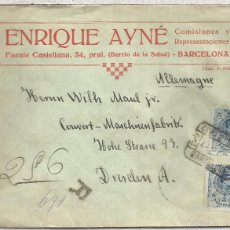 Sellos: BARCELONA CC CERTIFICADA A DRESDEN 1912 SELLOS ALFONSO XIII MEDALLON 2X25 CTS. Lote 58126431