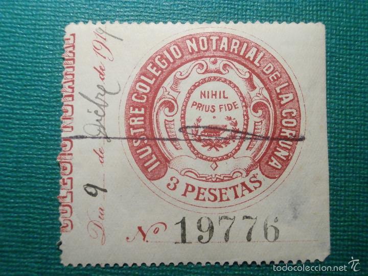 SELLO FISCAL CLASICO - COLEGIO NOTARIAL DE LA CORUÑA - 1919 - 3 PESETAS - TIMBRE (Sellos - España - Alfonso XIII de 1.886 a 1.931 - Usados)