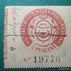 Sellos: SELLO FISCAL CLASICO - COLEGIO NOTARIAL DE LA CORUÑA - 1919 - 3 PESETAS - TIMBRE . Lote 58161968