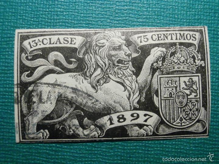 FISCAL - POLIZA AÑO 1897 CLASE 13 ª - 75 CÉNTIMOS DE PESETA - NEGRO - SIN DENTAR - SELLO - GALVEZ (Sellos - España - Alfonso XIII de 1.886 a 1.931 - Usados)
