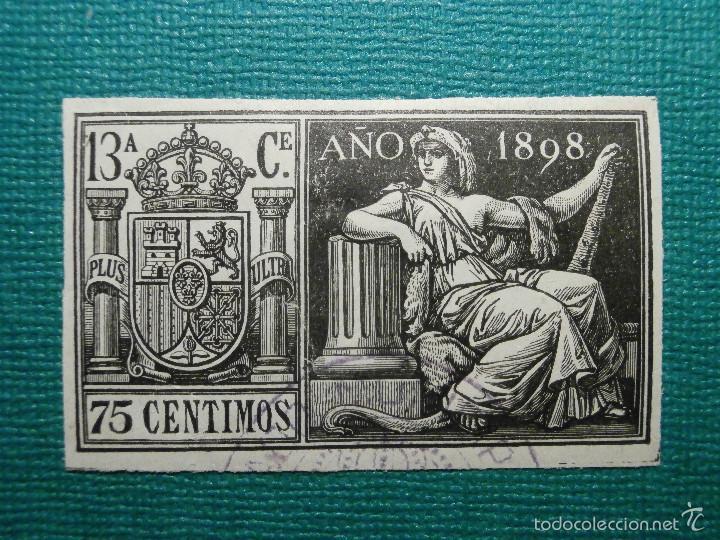 FISCALES, TIMBRE, SELLO PAPELES OFICIALES - SELLO 13º CLASE 1898 - 75 CÉNTIMOS, NEGRO - (Sellos - España - Alfonso XIII de 1.886 a 1.931 - Usados)