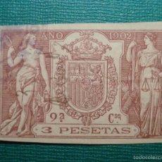 Sellos: FISCALES, TIMBRE, SELLO PAPELES OFICIALES - SELLO 9º CLASE 1902 - 3 PESETAS. Lote 58162642