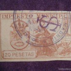 Sellos: SELLO - FISCAL - IMPUESTO MUNICIPAL - MADRID - AÑO 1902 - 20 PESETAS - TIMBRE -. Lote 58284601