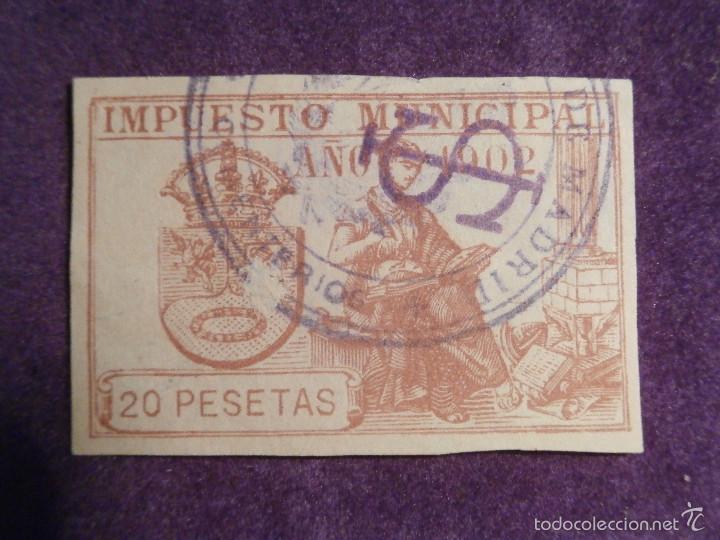 Sellos: Sello - Fiscal - Impuesto Municipal - Madrid - Año 1902 - 20 Pesetas - Timbre - - Foto 2 - 58284601