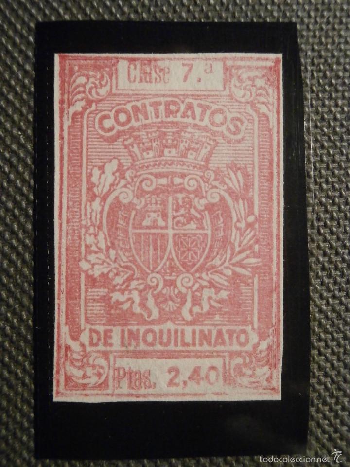 SELLO - FISCAL -. POLIZAS - CONTRATOS DE INQUILINATO - 2,40 PESETAS - CLASE 7ª - ROJO - SIN DENTAR (Sellos - España - Alfonso XIII de 1.886 a 1.931 - Usados)