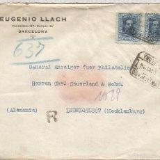 Sellos: BARCELONA 1926 CC CERTIFICADA A ALEMANIA SELLOS VAQUER ALFONSO XIII 40 CTS X 2 AL DORSO LLEGADA. Lote 58328514