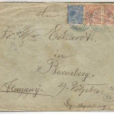 Sellos: CANARIAS 1897 LAS PALMAS MAT AZUL SELLOS PELON A ALEMANIA AL DORSO LLEGADA Y MAT PLYMOUTH SHIP LETTE. Lote 58328614