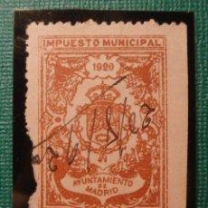 Sellos: SELLO - FISCAL - IMPUESTO MUNICIPAL - MADRID - 10 CÉNTIMOS - TIMBRE - AÑO 1920. Lote 58363552