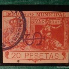 Sellos: SELLO - FISCAL - IMPUESTO MUNICIPAL - MADRID - 20 PESETAS - NARANJA - TIMBRE - AÑO 1901. Lote 58364023