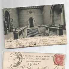 Sellos: LA UNIVERSIDAD. EL VESTÍBULO. BARCELONA. ALFONSO XIII. SEP1908.. Lote 59142515
