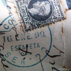 Sellos: SOBRE VACÍO. DIPUTADO PROVINCIAL MIGUEL J. VELAZQUEZ. SELLO ESTAFETA DEL SENADO. 16 DE ENERO DE 1899. Lote 60109779