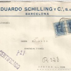 Sellos: BARCELONA CC CERTIFICADA A SPEYER 1924 SELLOS ALFONSO XIII VAQUER 40 CTS X 2 AL DORSO LLEGADA MATASE. Lote 60917971