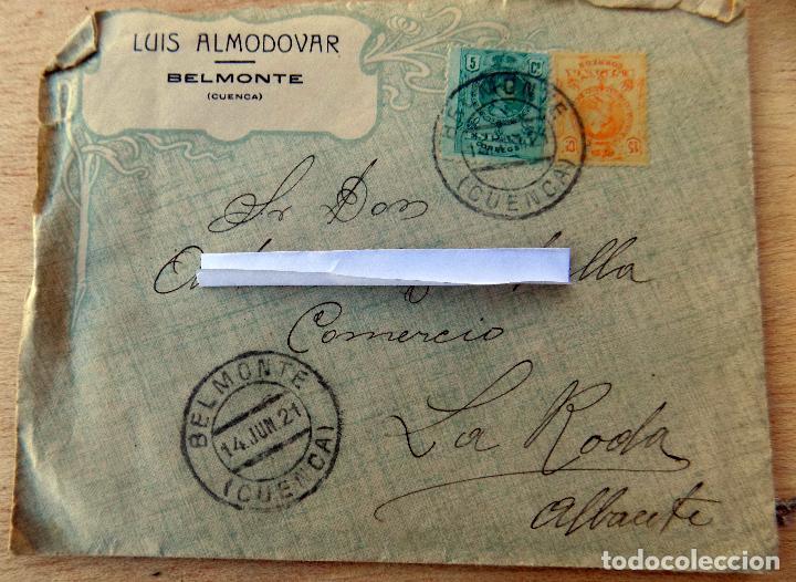 SOBRE COMERCIAL, 1921, BELMONTE , CUENCA, CONTIENE CARTA, AZAFRANES (Sellos - España - Alfonso XIII de 1.886 a 1.931 - Cartas)