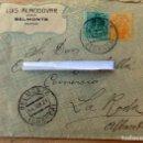 Sellos: SOBRE COMERCIAL, 1921, BELMONTE , CUENCA, CONTIENE CARTA, AZAFRANES. Lote 64135535