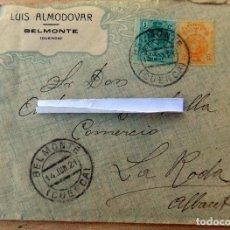 sobre comercial, 1921, belmonte , cuenca, contiene carta, azafranes