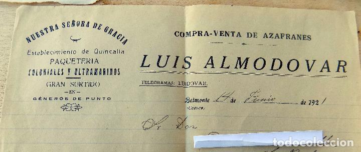 Sellos: sobre comercial, 1921, belmonte , cuenca, contiene carta, azafranes - Foto 2 - 64135535