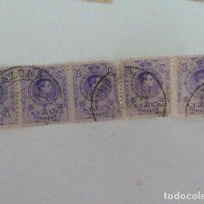 Sellos: LOTE 5 SELLOS EDIFIL 270 ALFONSO XIII TIPO MEDALLON 1909-1922 15 CENTIMOS DE PESETA USADO. Lote 66140766