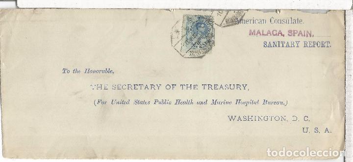 MALAGA FRONTAL A USA CON MAT AMBULANTE FERROCARRIL MALAGA CORDOBA (Sellos - España - Alfonso XIII de 1.886 a 1.931 - Cartas)