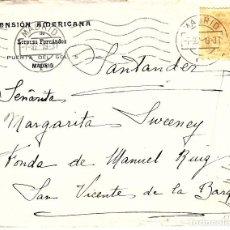 Sellos: SOBRE COMERCIAL DE LA PENSIÓN AMERICANA EN PUERTA DEL SOL EN MADRID ---1919---. Lote 66492714
