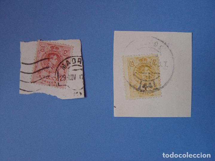 LOTE 2 SELLOS: ALFONSO XIII (10 Y 15 CTS.) 1909 ¡ORIGINALES! MATASELLO (Sellos - España - Alfonso XIII de 1.886 a 1.931 - Usados)