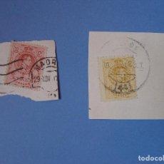 Sellos: LOTE 2 SELLOS: ALFONSO XIII (10 Y 15 CTS.) 1909 ¡ORIGINALES! MATASELLO. Lote 68971985