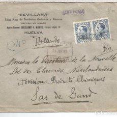Sellos: HUELVA CC CERTIFICADA A HOLANDA SELLOS ALFONSO XIII VAQUER AL DORSO LLEGADA. Lote 69099697