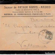 Sellos: CARTA DE SUC. DE ARTHUR KOPPEL EN MADRID-MATERIAL DE FERROCARRIL -CON CARTA EN EL INTERIOR-1908. Lote 70314081