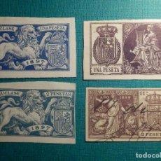 Sellos: SELLO FISCAL CLASICO - POLIZA - TIMBRE PAPELES OFICIALES - LOTE DE 4 - AÑOS 1897, 1899 Y 1901. Lote 71037961