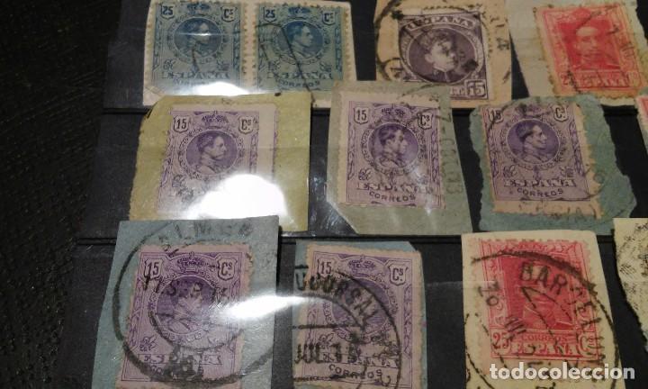 Sellos: 13 SELLOS DE ALFONSO XIII SOBRE PAPEL MATASELLOS INTERESANTES - Foto 2 - 72314639