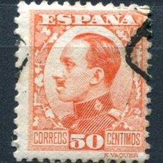 Sellos: EDIFIL 498. 50 CTS ALFONSO XIII, TIPO VAQUER DE PERFIL. MATASELLADO. . Lote 73692319
