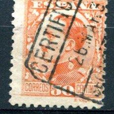 Sellos: EDIFIL 498. 50 CTS ALFONSO XIII, TIPO VAQUER DE PERFIL. MATASELLO FUERTE. Lote 73692415