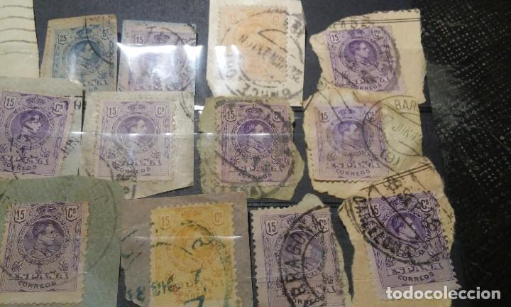 Sellos: 15 SELLOS DE ALFONSO XIII SOBRE PAPEL MATASELLOS INTERESANTES - Foto 3 - 74098511