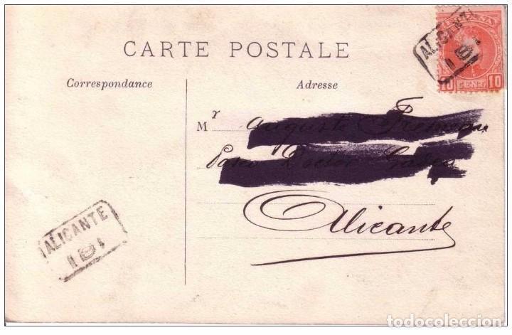 IBI CARTERIA ALICANTE - TARJETA POSTAL ROMÁNTICA FECHADA EN 1905 . DOBLE ESTAMPACION (Sellos - España - Alfonso XIII de 1.886 a 1.931 - Cartas)