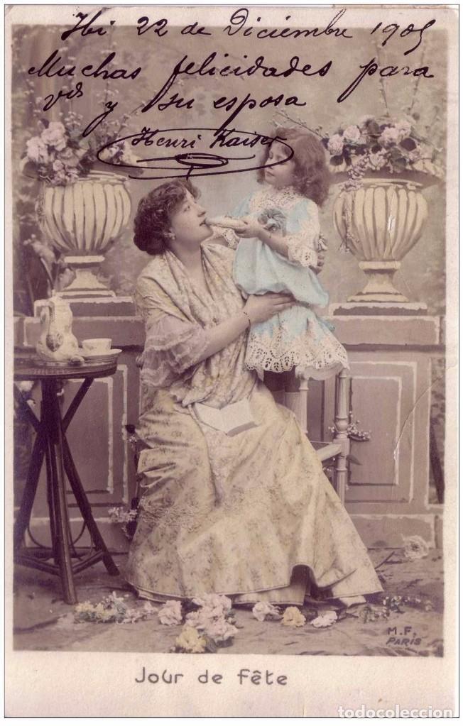 Sellos: IBI CARTERIA ALICANTE - TARJETA POSTAL ROMÁNTICA FECHADA EN 1905 . DOBLE ESTAMPACION - Foto 2 - 74331067