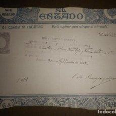 Sellos: PAGOS AL ESTADO - SELLO FISCAL- POLIZA - TIMBRE - AÑO 1908 - CLASE 6 ª - 10 PESETAS - MARRON. Lote 75311327