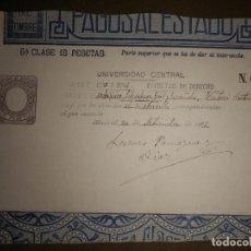 Sellos: PAGOS AL ESTADO - SELLO FISCAL- POLIZA - TIMBRE - AÑO 1893 - CLASE 5 ª - 15 PESETAS - MARRÓN. Lote 75312519