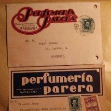 Sellos: BADALONA - PERFUMERÍA PARERA - TARJETAS COMERCIALES IMPRESAS AÑOS 28/30 - ALFONSO XIII. Lote 76392571